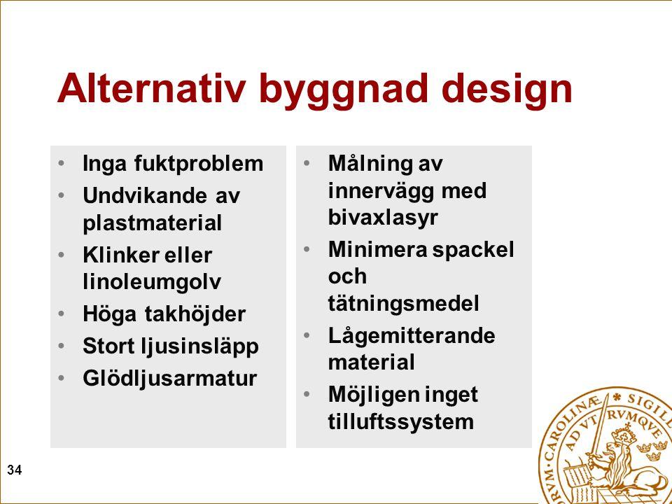34 Alternativ byggnad design Inga fuktproblem Undvikande av plastmaterial Klinker eller linoleumgolv Höga takhöjder Stort ljusinsläpp Glödljusarmatur