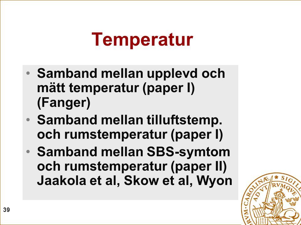 39 Temperatur Samband mellan upplevd och mätt temperatur (paper I) (Fanger) Samband mellan tilluftstemp. och rumstemperatur (paper I) Samband mellan S