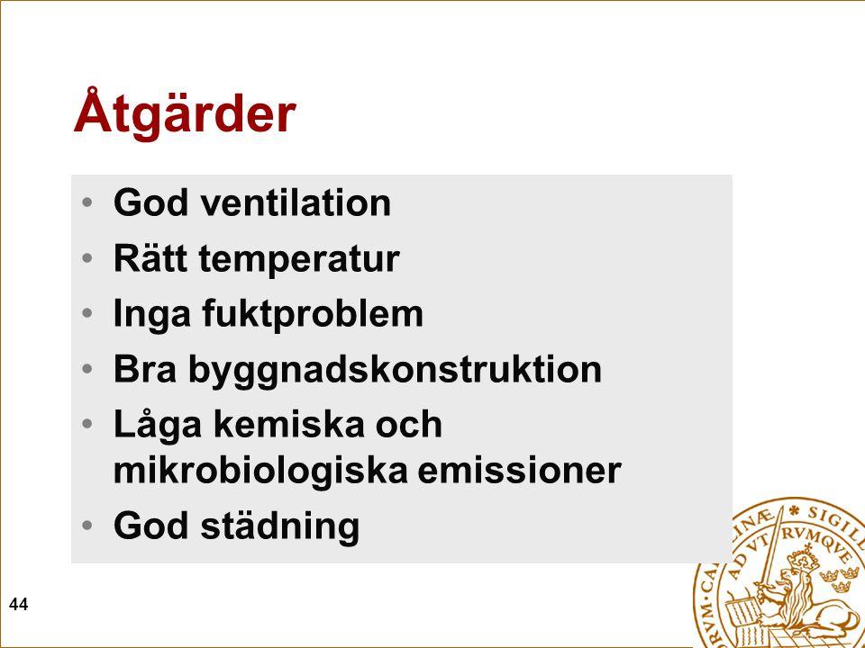 44 Åtgärder God ventilation Rätt temperatur Inga fuktproblem Bra byggnadskonstruktion Låga kemiska och mikrobiologiska emissioner God städning