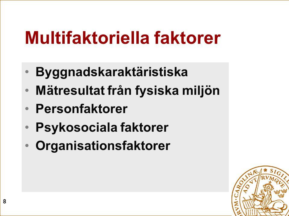 8 Multifaktoriella faktorer Byggnadskaraktäristiska Mätresultat från fysiska miljön Personfaktorer Psykosociala faktorer Organisationsfaktorer