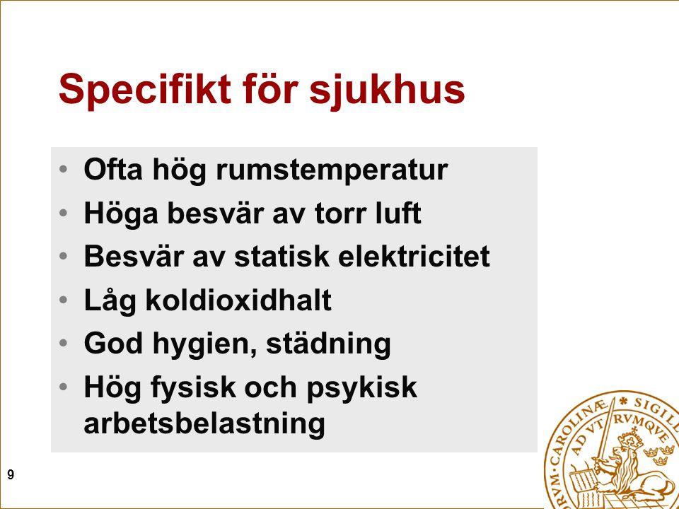 9 Specifikt för sjukhus Ofta hög rumstemperatur Höga besvär av torr luft Besvär av statisk elektricitet Låg koldioxidhalt God hygien, städning Hög fys