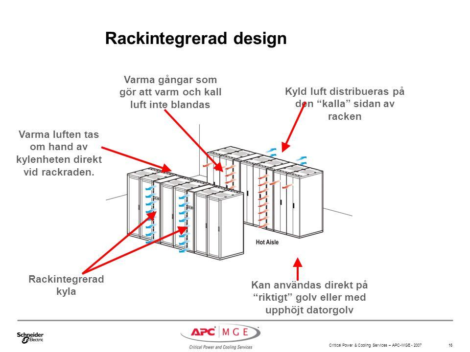 Critical Power & Cooling Services – APC-MGE - 2007 16 Rackintegrerad design Rackintegrerad kyla Kan användas direkt på riktigt golv eller med upphöjt datorgolv Varma gångar som gör att varm och kall luft inte blandas Kyld luft distribueras på den kalla sidan av racken Varma luften tas om hand av kylenheten direkt vid rackraden.