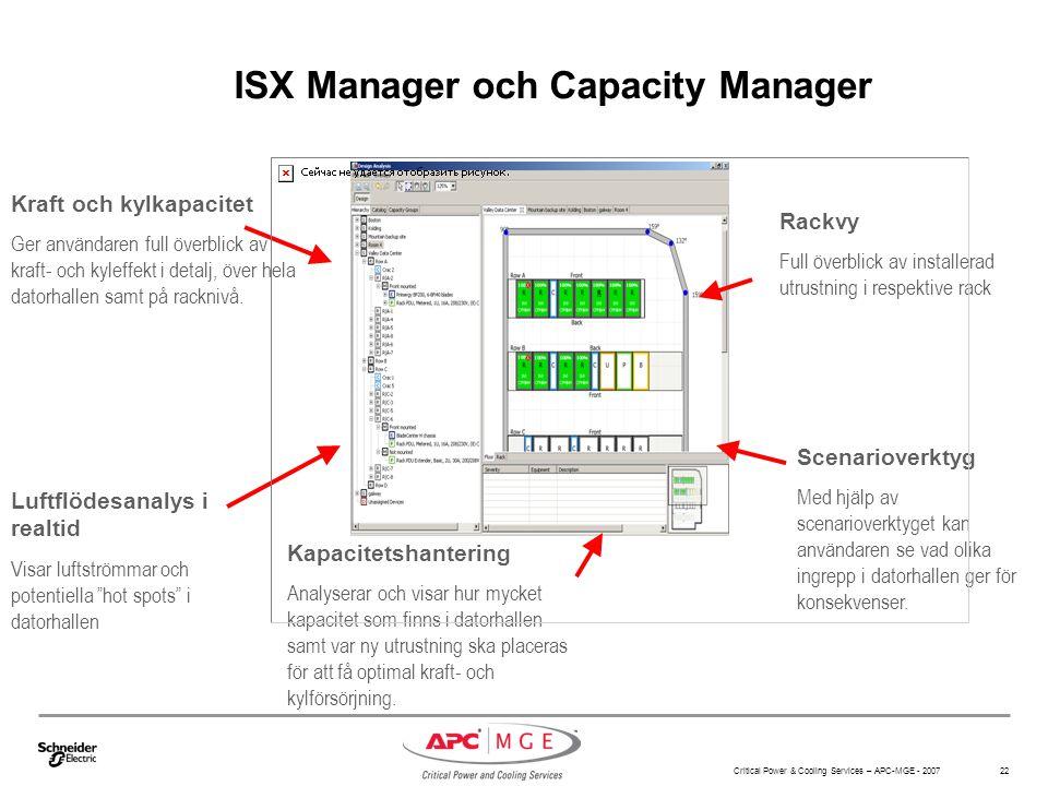 Critical Power & Cooling Services – APC-MGE - 2007 22 ISX Manager och Capacity Manager Rackvy Full överblick av installerad utrustning i respektive ra