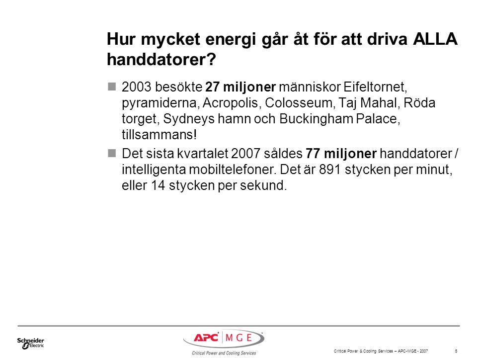 Critical Power & Cooling Services – APC-MGE - 2007 5 Hur mycket energi går åt för att driva ALLA handdatorer? 2003 besökte 27 miljoner människor Eifel
