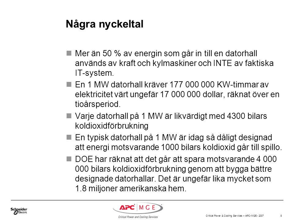 Critical Power & Cooling Services – APC-MGE - 2007 8 Några nyckeltal Mer än 50 % av energin som går in till en datorhall används av kraft och kylmaskiner och INTE av faktiska IT-system.