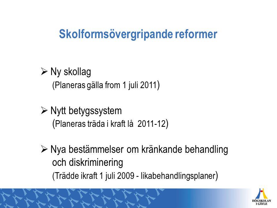 Skolformsövergripande reformer  Ny skollag (Planeras gälla from 1 juli 2011 )  Nytt betygssystem ( Planeras träda i kraft lå 2011-12 )  Nya bestämm