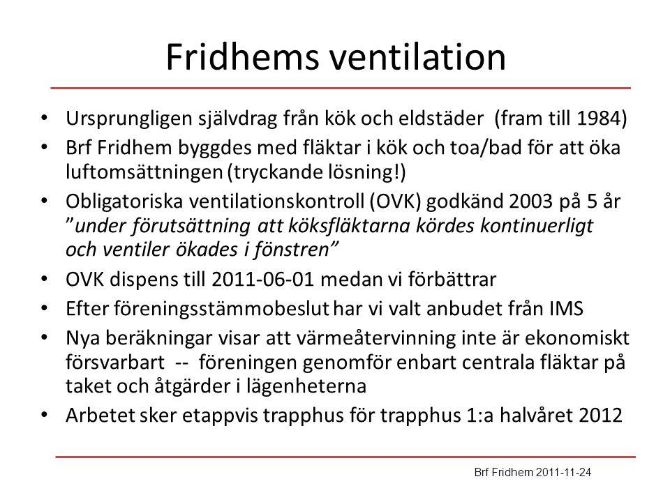 Fridhems ventilation Ursprungligen självdrag från kök och eldstäder (fram till 1984) Brf Fridhem byggdes med fläktar i kök och toa/bad för att öka luf