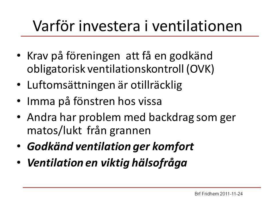Fridhems ventilation Ursprungligen självdrag från kök och eldstäder (fram till 1984) Brf Fridhem byggdes med fläktar i kök och toa/bad för att öka luftomsättningen (tryckande lösning!) Obligatoriska ventilationskontroll (OVK) godkänd 2003 på 5 år under förutsättning att köksfläktarna kördes kontinuerligt och ventiler ökades i fönstren OVK dispens till 2011-06-01 medan vi förbättrar Efter föreningsstämmobeslut har vi valt anbudet från IMS Nya beräkningar visar att värmeåtervinning inte är ekonomiskt försvarbart -- föreningen genomför enbart centrala fläktar på taket och åtgärder i lägenheterna Arbetet sker etappvis trapphus för trapphus 1:a halvåret 2012 Brf Fridhem 2011-11-24