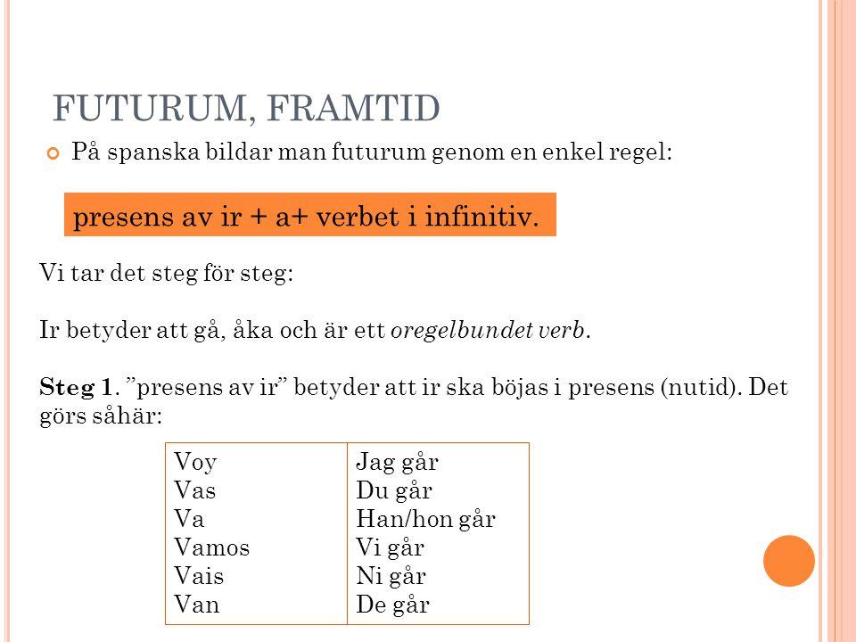 FUTURUM, FRAMTID På spanska bildar man futurum genom en enkel regel: Vi tar det steg för steg: Ir betyder att gå, åka och är ett oregelbundet verb.