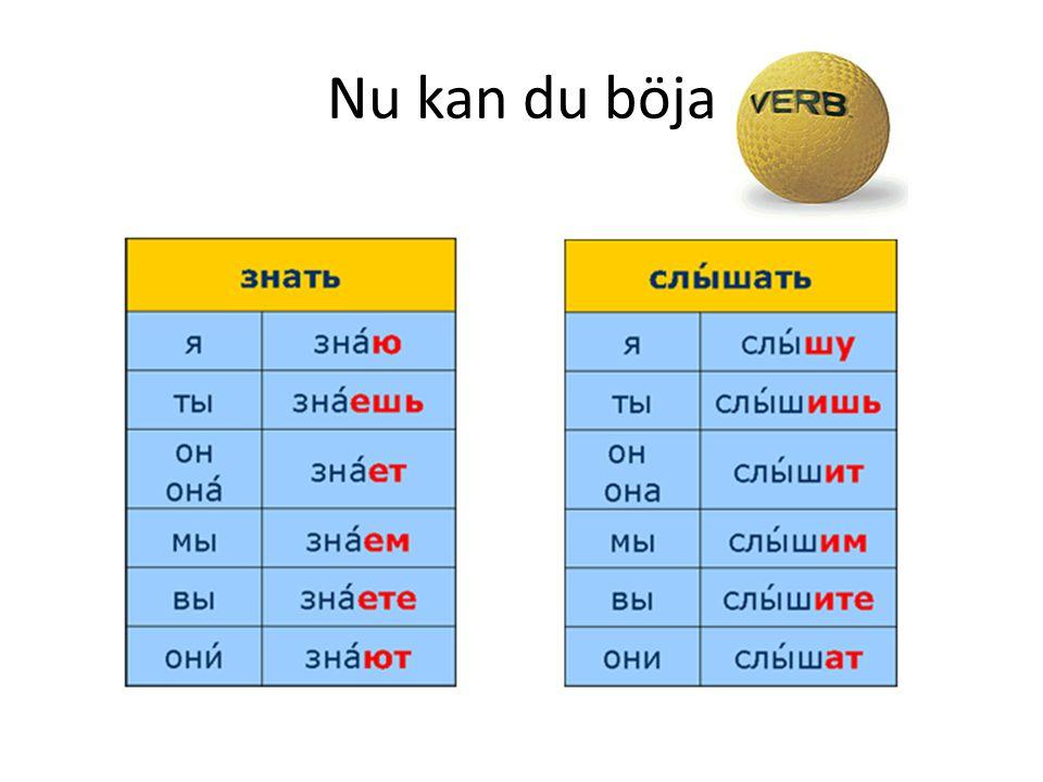 2:a konjugationen kallas И-böjningen Försök böja följande И-verb: ЛЮБИТЬ älska ГОВОРИТЬ prata СМОТРЕТЬ titta