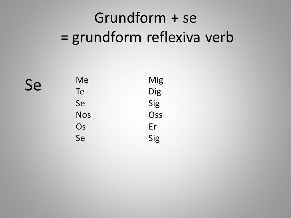 Grundform + se = grundform reflexiva verb Me Te Se Nos Os Se Mig Dig Sig Oss Er Sig
