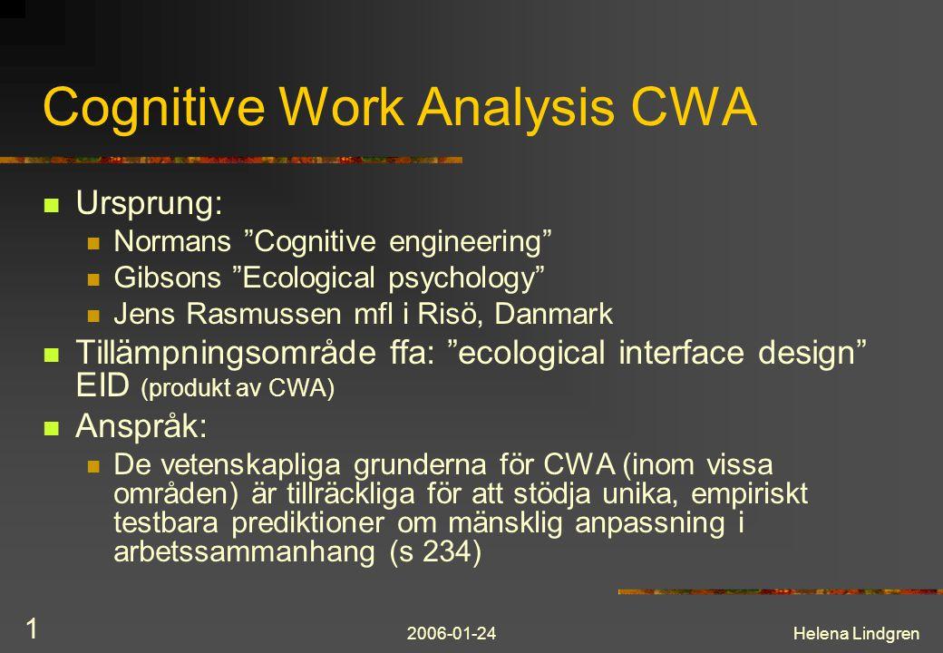 2006-01-24Helena Lindgren 12 CWA – exempel rotfelsanalys Beslutstöd för operatörer i kraftverk www.goalart.com