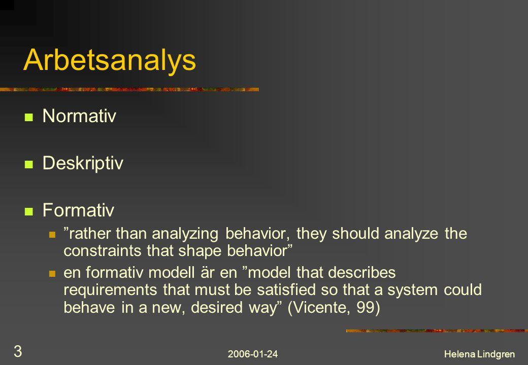 2006-01-24Helena Lindgren 4 Analysfaser Work domain analysis Control task analysis Strategies analysis Social-organizational analysis Worker competencies analysis Action possibilities