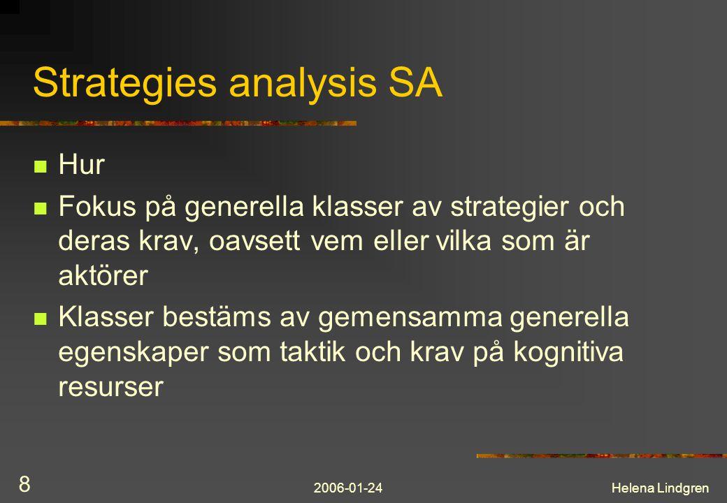 2006-01-24Helena Lindgren 9 Socio-organizational analysis SOA Arbetsfördelning och koordination av arbete (innehåll) Organisation (form) Identifierar hur aktörer (människa/maskin) delar ansvar för att exekvera en uppgift (control task) enligt en viss strategi.