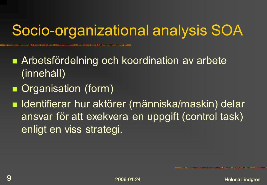 2006-01-24Helena Lindgren 10 Socio-organizational analysis SOA