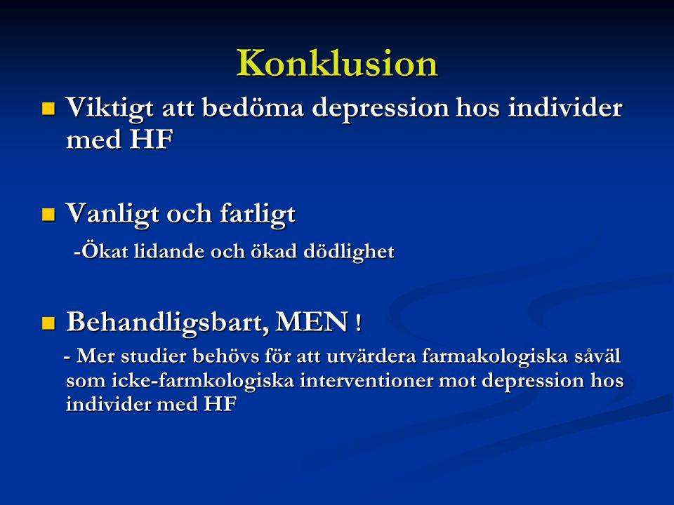 Konklusion Viktigt att bedöma depression hos individer med HF Viktigt att bedöma depression hos individer med HF Vanligt och farligt Vanligt och farligt -Ökat lidande och ökad dödlighet -Ökat lidande och ökad dödlighet Behandligsbart, MEN .