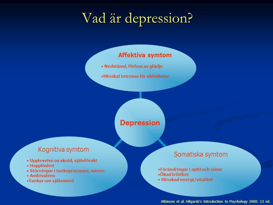 Depression Affektiva symtom Nedstämd, förlust av glädje Minskat intresse för aktiviteter Somatiska symtom Förändringar i aptit och sömn Ökad trötthet Minskad energi/vitalitet Kognitiva symtom Upplevelse av skuld, självförakt Hopplöshet Störningar i tankeprocesser, minne Ambivalens Tankar om självmord Atkinson et al.