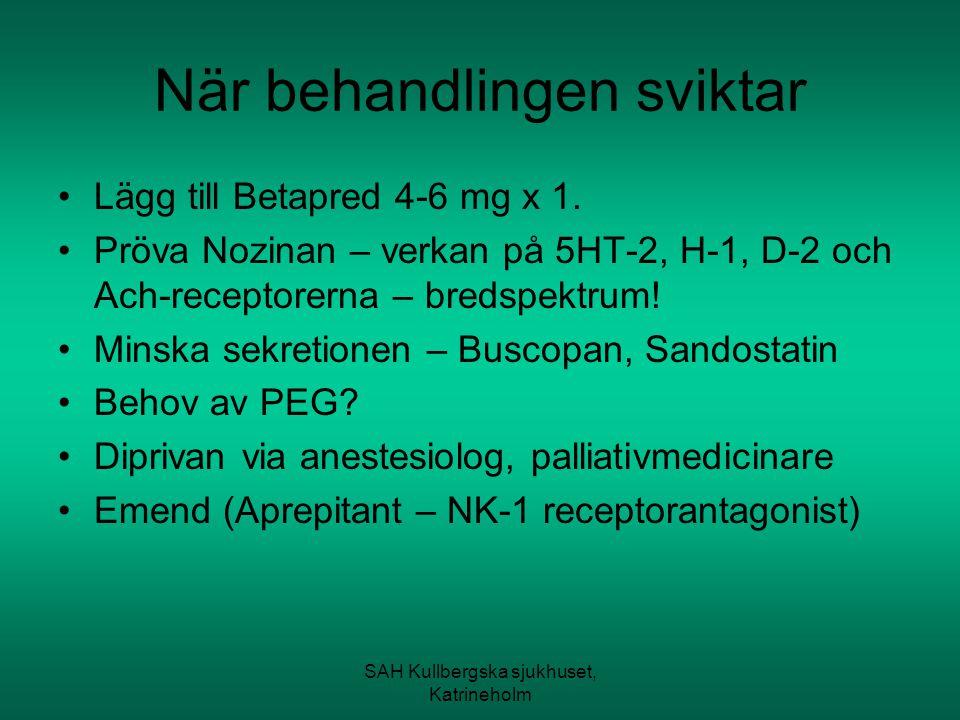 SAH Kullbergska sjukhuset, Katrineholm När behandlingen sviktar Lägg till Betapred 4-6 mg x 1. Pröva Nozinan – verkan på 5HT-2, H-1, D-2 och Ach-recep