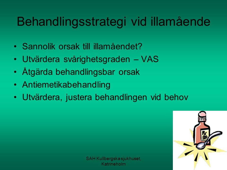 SAH Kullbergska sjukhuset, Katrineholm Behandlingsstrategi vid illamående Sannolik orsak till illamåendet? Utvärdera svårighetsgraden – VAS Åtgärda be