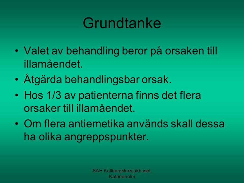 SAH Kullbergska sjukhuset, Katrineholm Anamnes och status Illamående eller kräkning.