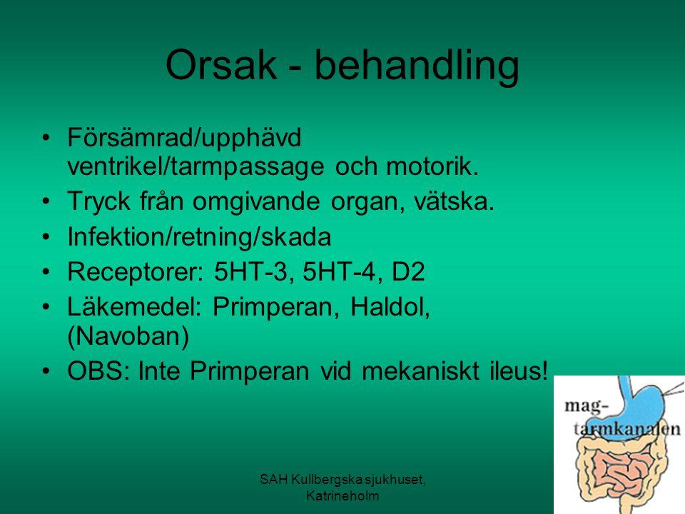 SAH Kullbergska sjukhuset, Katrineholm Orsak - behandling Försämrad/upphävd ventrikel/tarmpassage och motorik. Tryck från omgivande organ, vätska. Inf