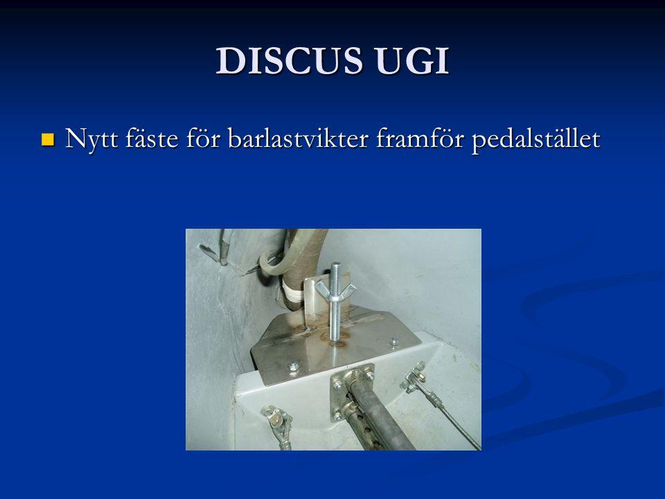 DISCUS UGI Nytt fäste för barlastvikter framför pedalstället Nytt fäste för barlastvikter framför pedalstället