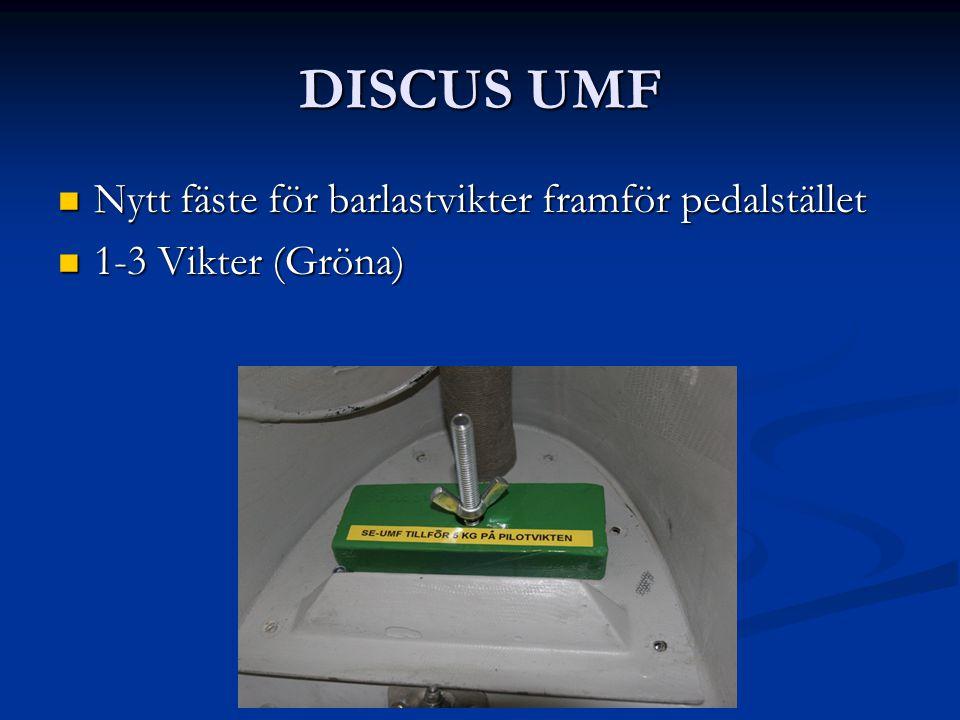 DISCUS UMF Nytt fäste för barlastvikter framför pedalstället Nytt fäste för barlastvikter framför pedalstället 1-3 Vikter (Gröna) 1-3 Vikter (Gröna)