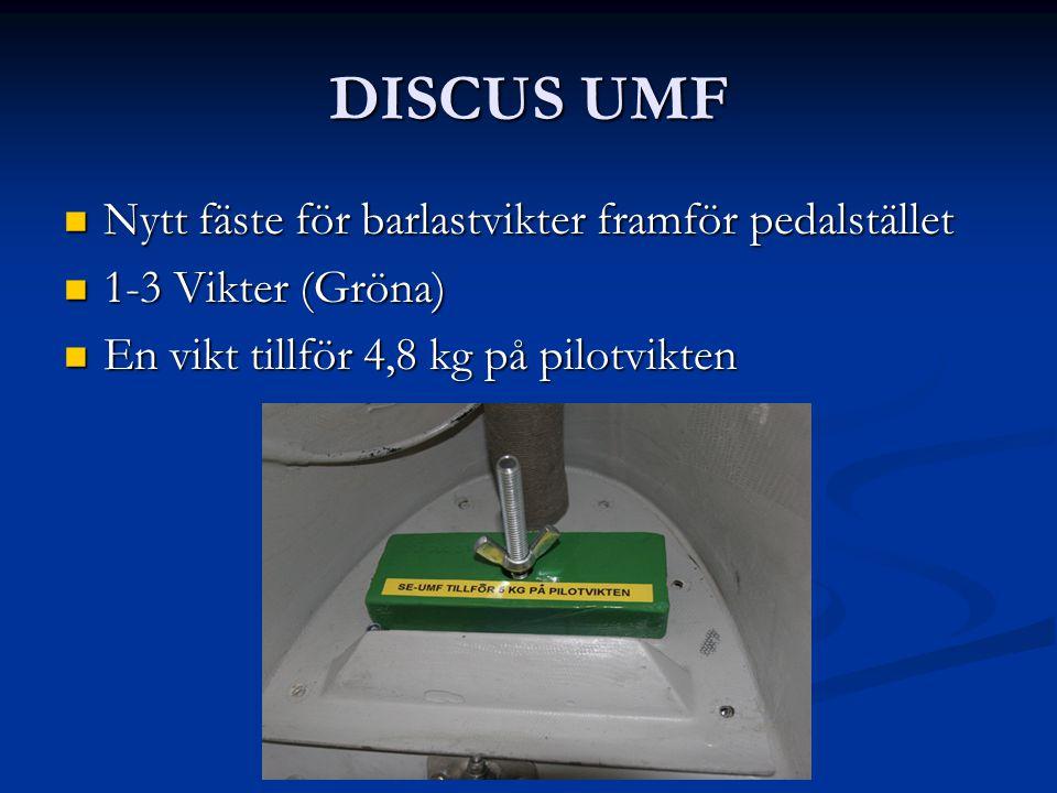 DISCUS UMF Nytt fäste för barlastvikter framför pedalstället Nytt fäste för barlastvikter framför pedalstället 1-3 Vikter (Gröna) 1-3 Vikter (Gröna) En vikt tillför 4,8 kg på pilotvikten En vikt tillför 4,8 kg på pilotvikten