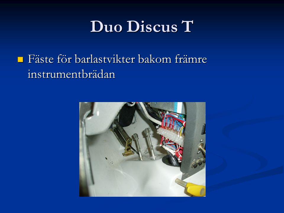 Duo Discus T Fäste för barlastvikter bakom främre instrumentbrädan Fäste för barlastvikter bakom främre instrumentbrädan