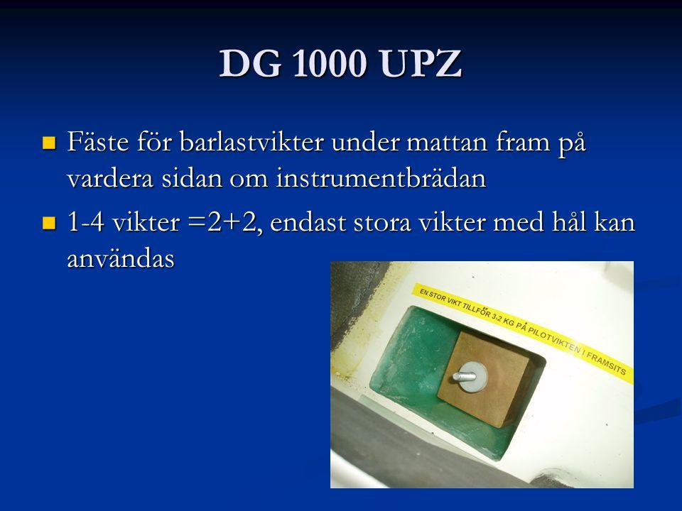 DG 1000 UPZ Fäste för barlastvikter under mattan fram på vardera sidan om instrumentbrädan Fäste för barlastvikter under mattan fram på vardera sidan om instrumentbrädan 1-4 vikter =2+2, endast stora vikter med hål kan användas 1-4 vikter =2+2, endast stora vikter med hål kan användas