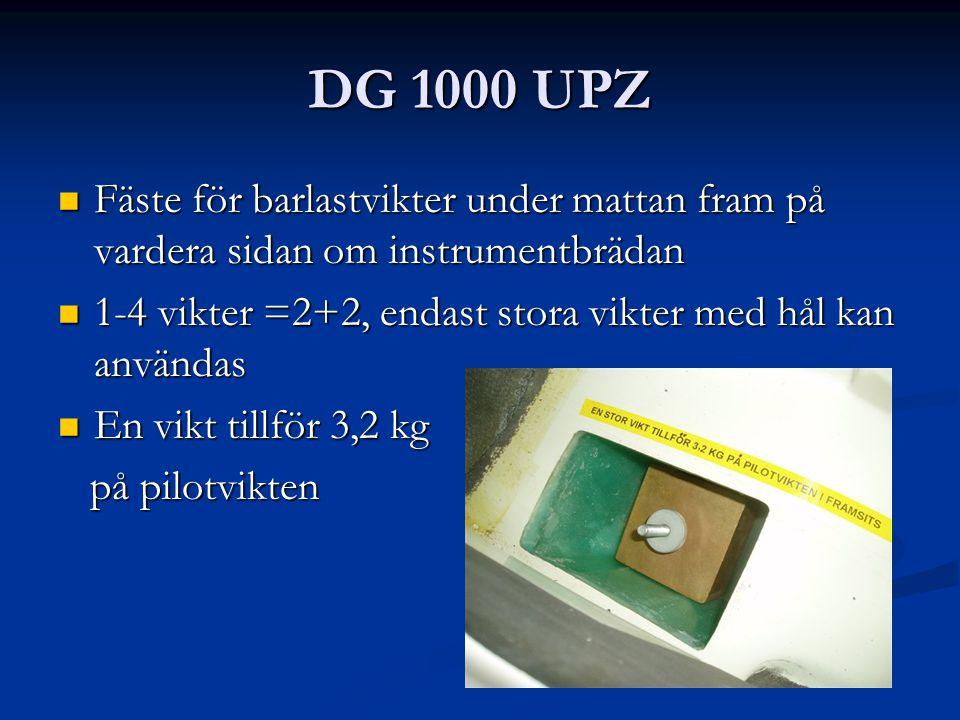 DG 1000 UPZ Fäste för barlastvikter under mattan fram på vardera sidan om instrumentbrädan Fäste för barlastvikter under mattan fram på vardera sidan om instrumentbrädan 1-4 vikter =2+2, endast stora vikter med hål kan användas 1-4 vikter =2+2, endast stora vikter med hål kan användas En vikt tillför 3,2 kg En vikt tillför 3,2 kg på pilotvikten på pilotvikten