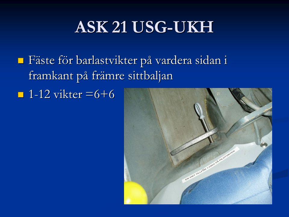 ASK 21 USG-UKH Fäste för barlastvikter på vardera sidan i framkant på främre sittbaljan Fäste för barlastvikter på vardera sidan i framkant på främre sittbaljan 1-12 vikter =6+6 1-12 vikter =6+6