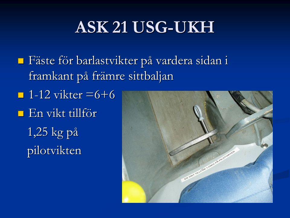 ASK 21 USG-UKH Fäste för barlastvikter på vardera sidan i framkant på främre sittbaljan Fäste för barlastvikter på vardera sidan i framkant på främre sittbaljan 1-12 vikter =6+6 1-12 vikter =6+6 En vikt tillför En vikt tillför 1,25 kg på 1,25 kg på pilotvikten pilotvikten