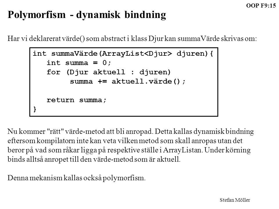 Stefan Möller OOP F9:15 Polymorfism - dynamisk bindning Har vi deklarerat värde() som abstract i klass Djur kan summaVärde skrivas om: Nu kommer rätt värde-metod att bli anropad.