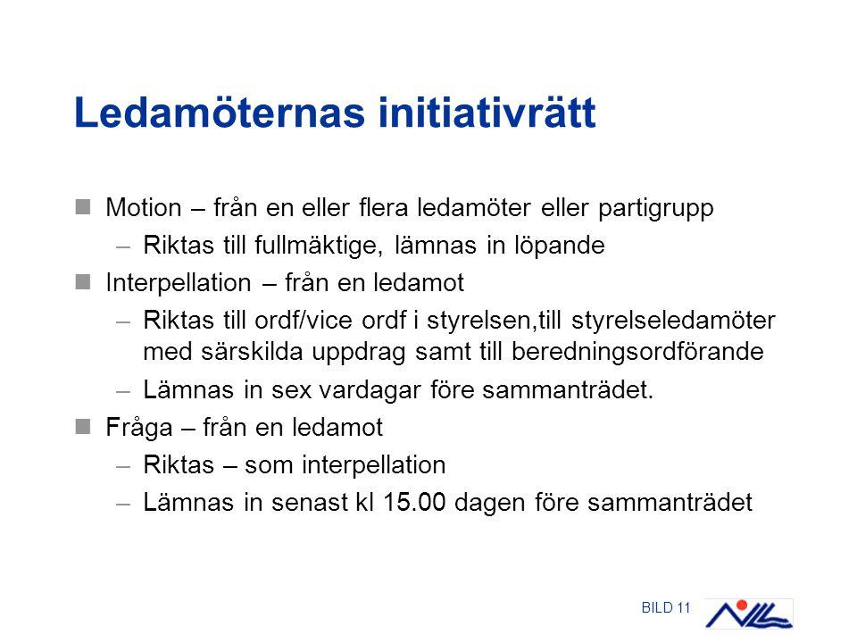 BILD 11 Ledamöternas initiativrätt Motion – från en eller flera ledamöter eller partigrupp –Riktas till fullmäktige, lämnas in löpande Interpellation