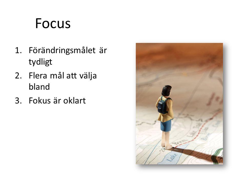 1.Förändringsmålet är tydligt 2.Flera mål att välja bland 3.Fokus är oklart Focus