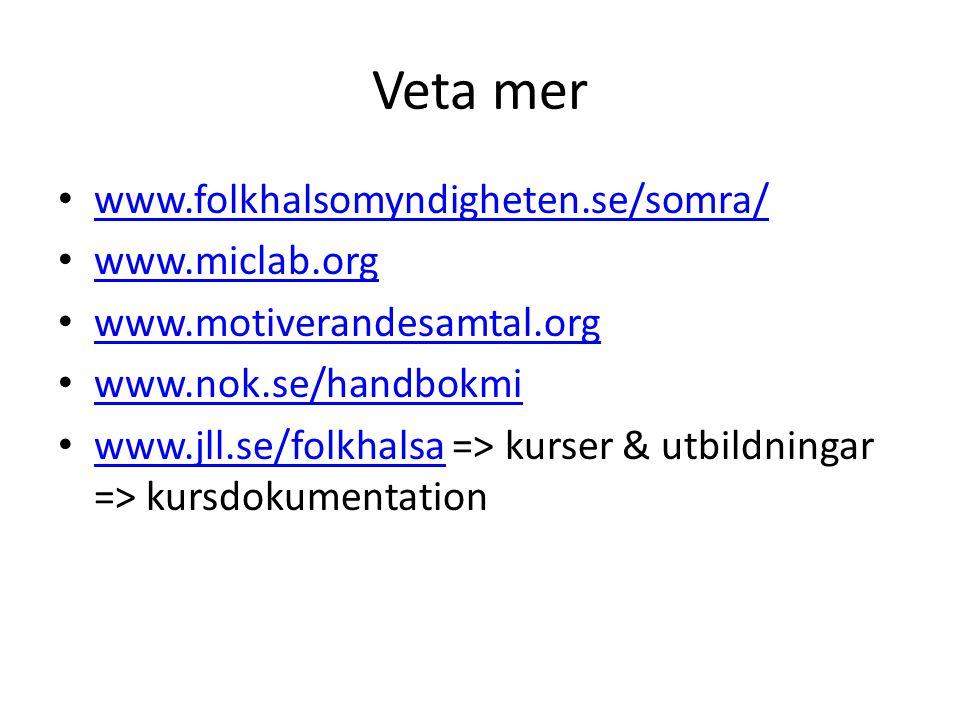 Veta mer www.folkhalsomyndigheten.se/somra/ www.miclab.org www.motiverandesamtal.org www.nok.se/handbokmi www.jll.se/folkhalsa => kurser & utbildninga
