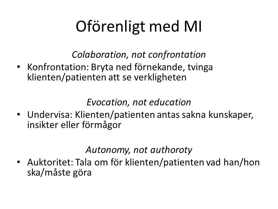 Oförenligt med MI Colaboration, not confrontation Konfrontation: Bryta ned förnekande, tvinga klienten/patienten att se verkligheten Evocation, not ed