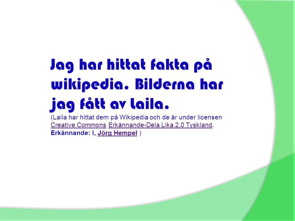 Jag har hittat fakta på wikipedia. Bilderna har jag fått av Laila. (Laila har hittat dem på Wikipedia och de är under licensen Creative Commons Erkänn