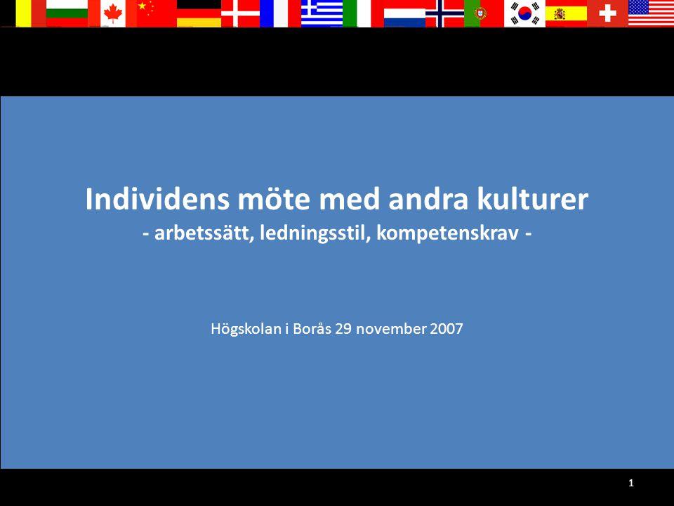 1 Individens möte med andra kulturer - arbetssätt, ledningsstil, kompetenskrav - Högskolan i Borås 29 november 2007