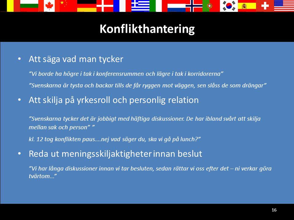 """16 Konflikthantering Att säga vad man tycker """"Vi borde ha högre i tak i konferensrummen och lägre i tak i korridorerna"""" """"Svenskarna är tysta och backa"""
