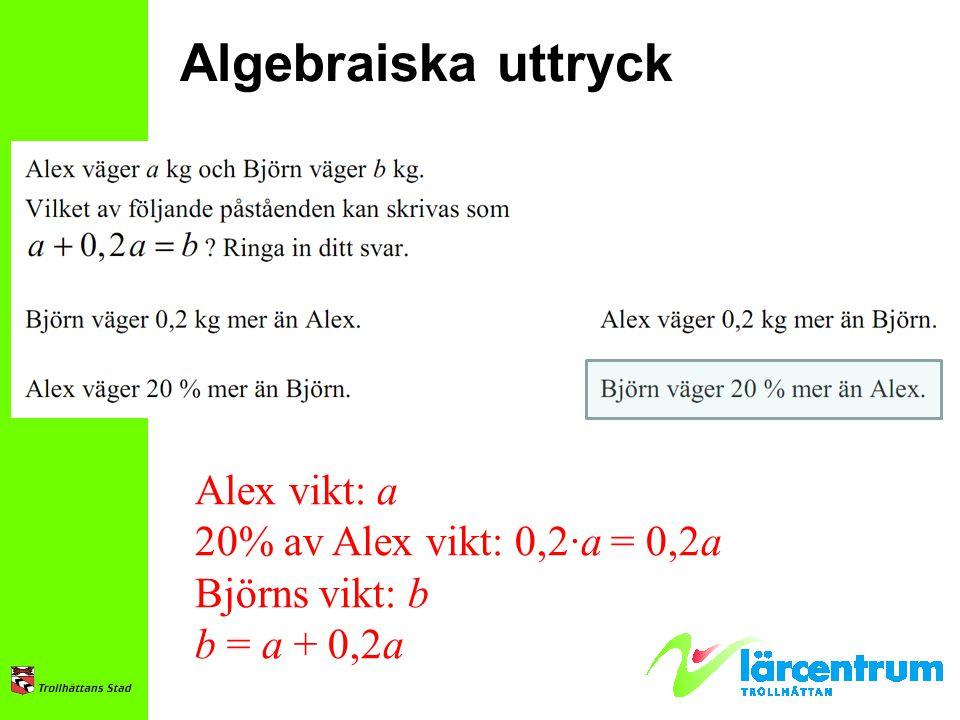 Alex vikt: a 20% av Alex vikt: 0,2∙a = 0,2a Björns vikt: b b = a + 0,2a