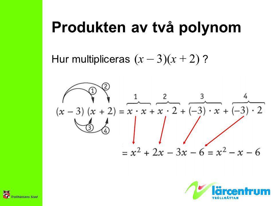 Produkten av två polynom Hur multipliceras (x – 3)(x + 2) ?
