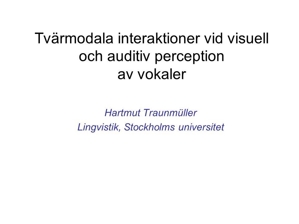 Tidigare undersökningars grundtanke om audiovisuell integration vid talperception Ren bayesisk integration av informationen tänkbar (multiplikation och normalisering av sannolikheter)