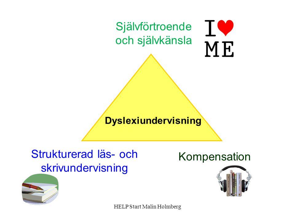 Självförtroende och självkänsla Kompensation Strukturerad läs- och skrivundervisning Dyslexiundervisning HELP Start Malin Holmberg