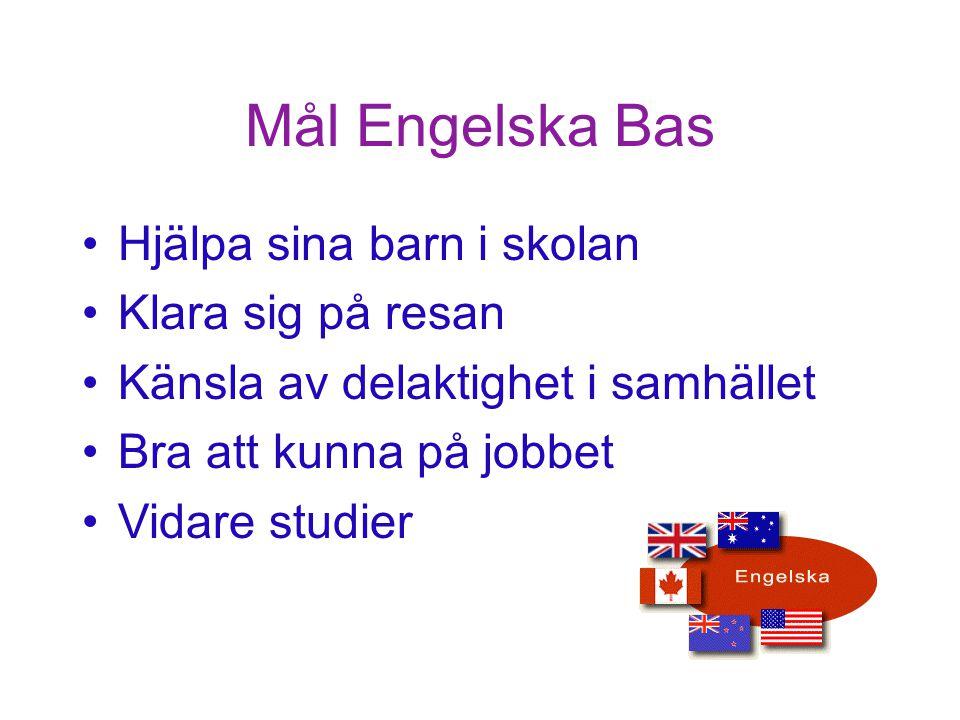 Mål Engelska Bas Hjälpa sina barn i skolan Klara sig på resan Känsla av delaktighet i samhället Bra att kunna på jobbet Vidare studier HELP Start Malin Holmberg