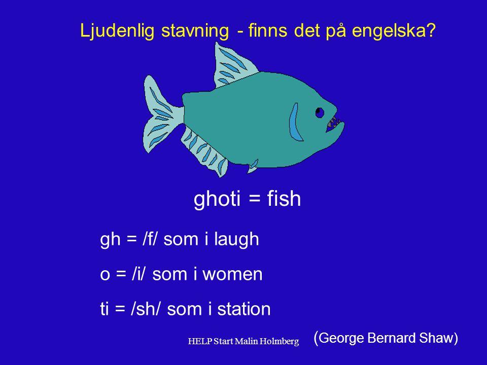 ghoti gh = /f/ som i laugh o = /i/ som i women ti = /sh/ som i station Ljudenlig stavning - finns det på engelska.