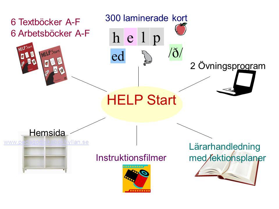 h e l p /ð/ ed Lärarhandledning med lektionsplaner Hemsida www.pedagogiskabokhyllan.se Instruktionsfilmer 2 Övningsprogram 300 laminerade kort 6 Textböcker A-F 6 Arbetsböcker A-F HELP Start