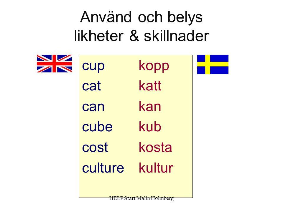 Använd och belys likheter & skillnader cupkopp catkatt cankan cubekub costkosta culturekultur HELP Start Malin Holmberg
