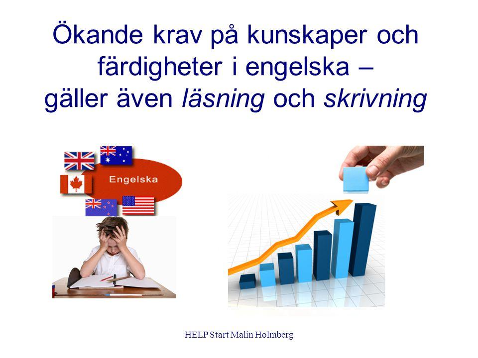 Språk = kommunikation Tidig start Lekfull början med mycket muntlig kommunikation Snabb övergång till skrift Ingen eller lite fonemisk grundträning i engelska HELP Start Malin Holmberg
